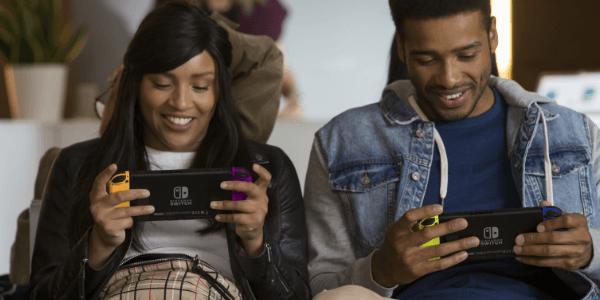 Stel speelt op Nintendo Switch in handheld modus