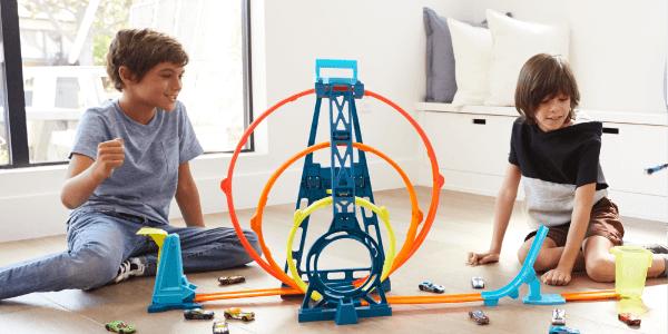 Hot Wheels Track Builder driedubbele loopingset