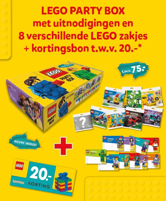 LEGO Party Box met uitnodigingen en 8 verschillende LEGO zakjes plus kortingsbon ter waarde van 20,-