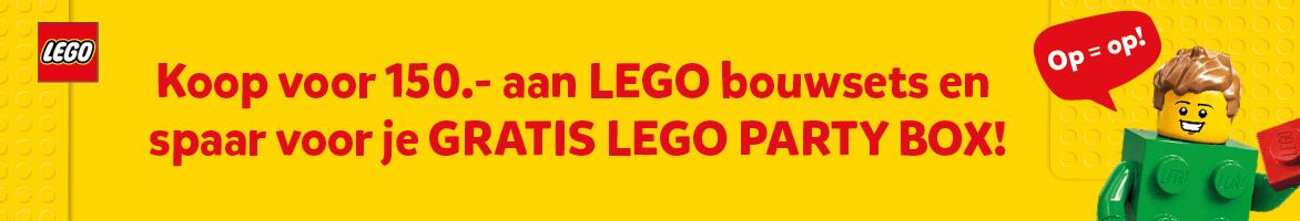 Koop voor 150,- aan LEGO bouwsets en spaar voor je gratis LEGO Party box!
