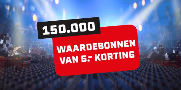 150.000 wardebonnen van 5.- korting