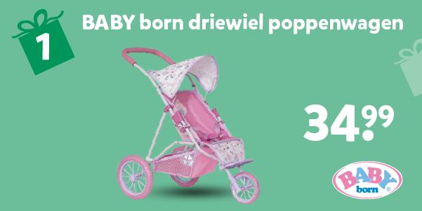 BABY born driewiel poppenwagen