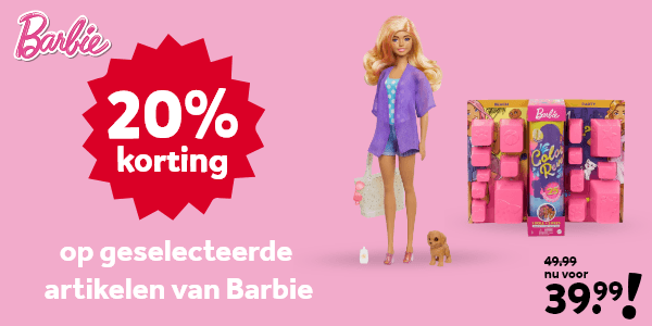 20% korting op geselecteerde Barbie