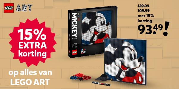 15% extra korting op alles van LEGO ART