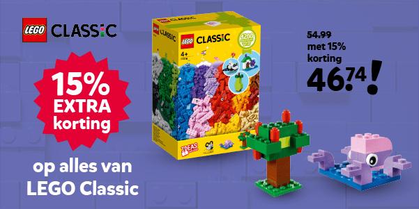 15% extra korting op LEGO Classic