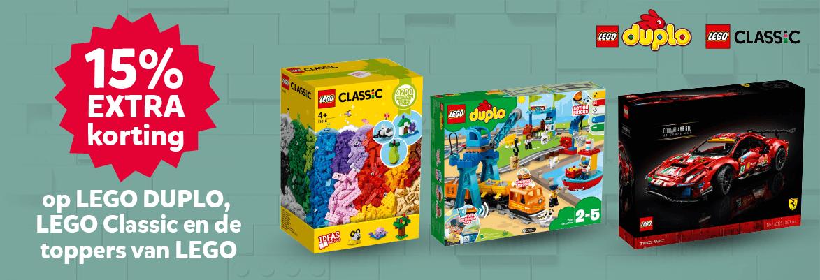 15% extra korting op LEGO DUPLO, LEGO Classic en de toppers van LEGO