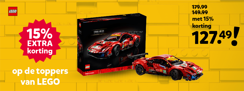 15% extra korting op de toppers van LEGO