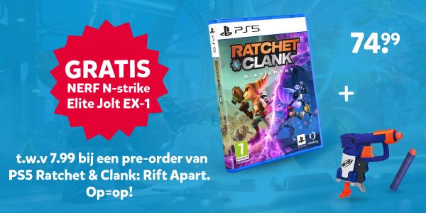 Gratis NERF N-Strike Elite Jolt EX-1 bij PS5 Ratchet & Clank: Rift Apart