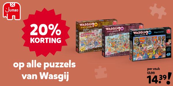 20% korting op Wasgij puzzels