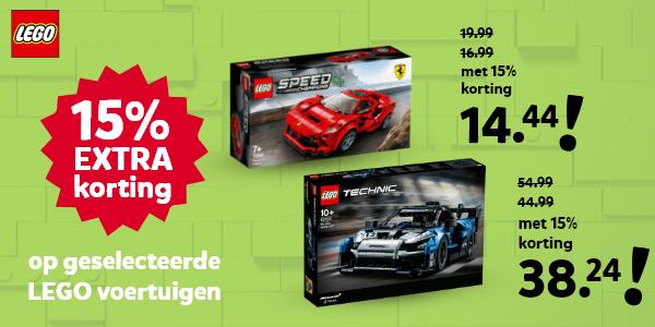 15% korting op geselecteerde LEGO voertuigen