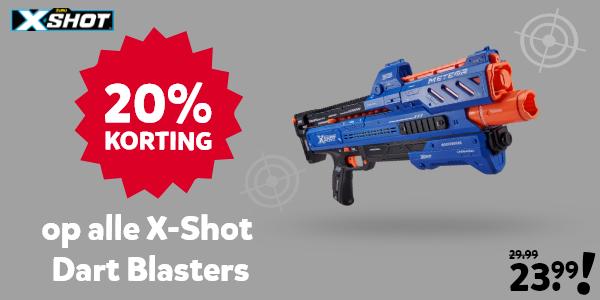 20% korting op alle X-Shot Dart Blasters