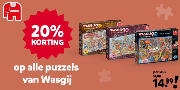 20% korting op alle Wasgij puzzels
