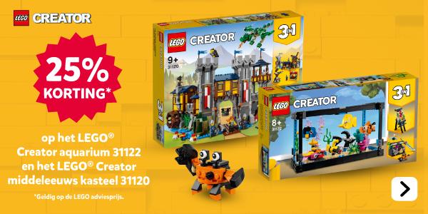 25% korting op LEGO Creator Middeleeuws kasteel 31120 en LEGO Creator Aquarium 31122