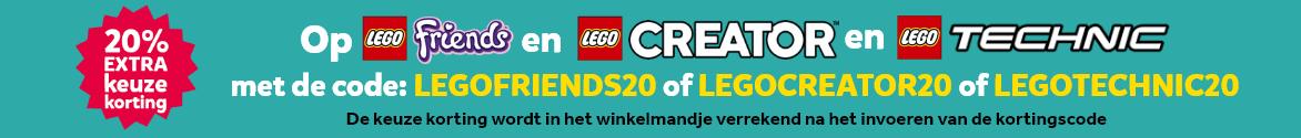 20% extra keuze korting op LEGO Friends en LEGO Creator en LEGO Technic met de kortingscodes