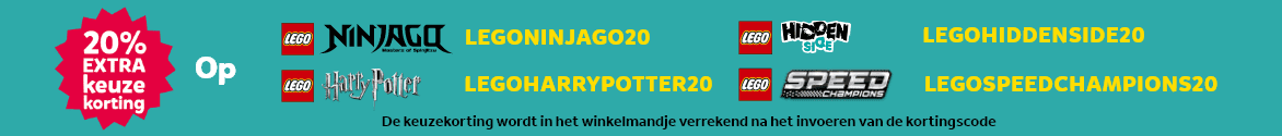 20% extra keuze korting op LEGO Ninjago, LEGO Harry Potter, LEGO Hidden Side en LEGO Speed Champions