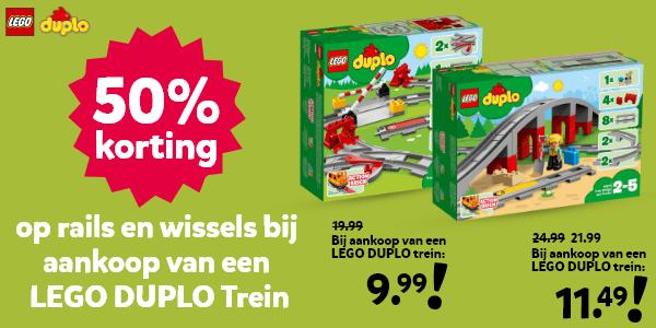 50% korting op rails en wissels bij aankoop van een LEGO DUPLO trein