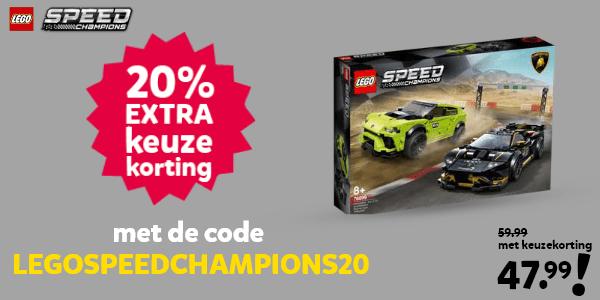 20% extra keuzekorting op LEGO Speed Champions met de code LEGOSPEEDCHAMPIONS20
