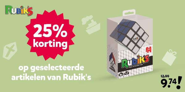 25% korting op geselecteerde artikelen van Rubik's