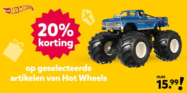 20% korting op geselecteerde artikelen van Hot Wheels