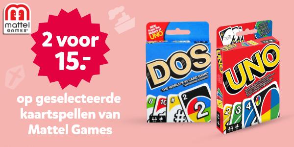 2 voor 15.- op geselecteerde kaartspellen van Mattel Games