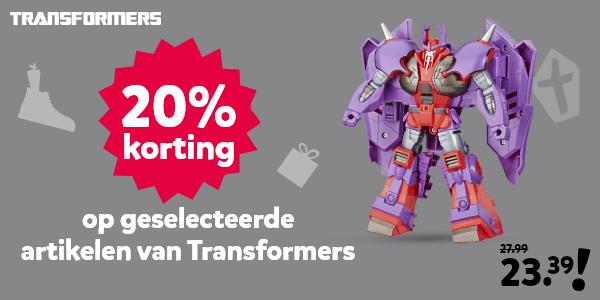 20% korting op geselecteerde artikelen van Transformers