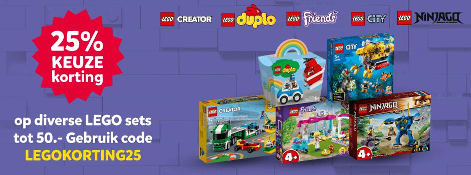 25% keuzekorting op diverse LEGO sets tot 50.-