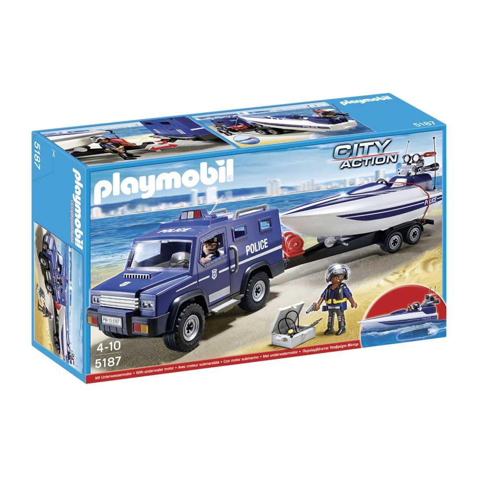 PLAYMOBIL City Action politietruck met speedboot 5187