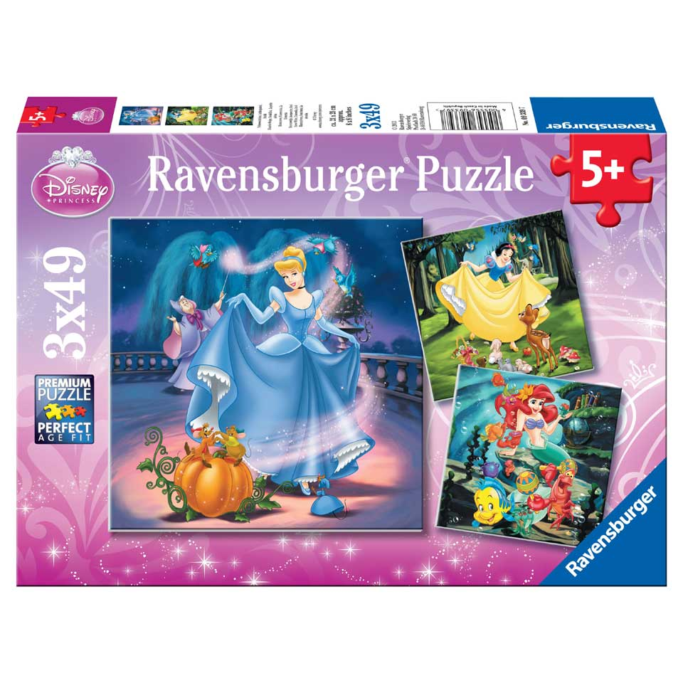 Ravensburger Disney Princess puzzelset Met hun vriendjes - 3 x 49 stukjes