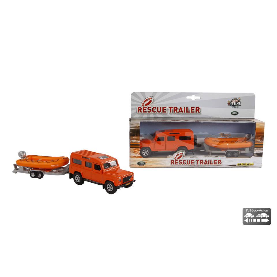 Kids Globe Traffic Land Rover met trailer