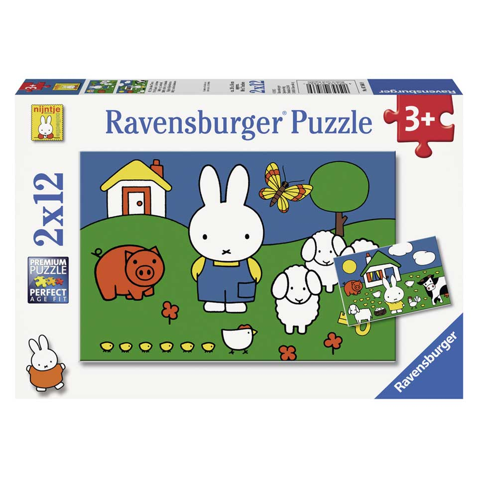 Ravensburger Nijntje puzzelset Nijntje bij de dieren - 2 x 12 stukjes