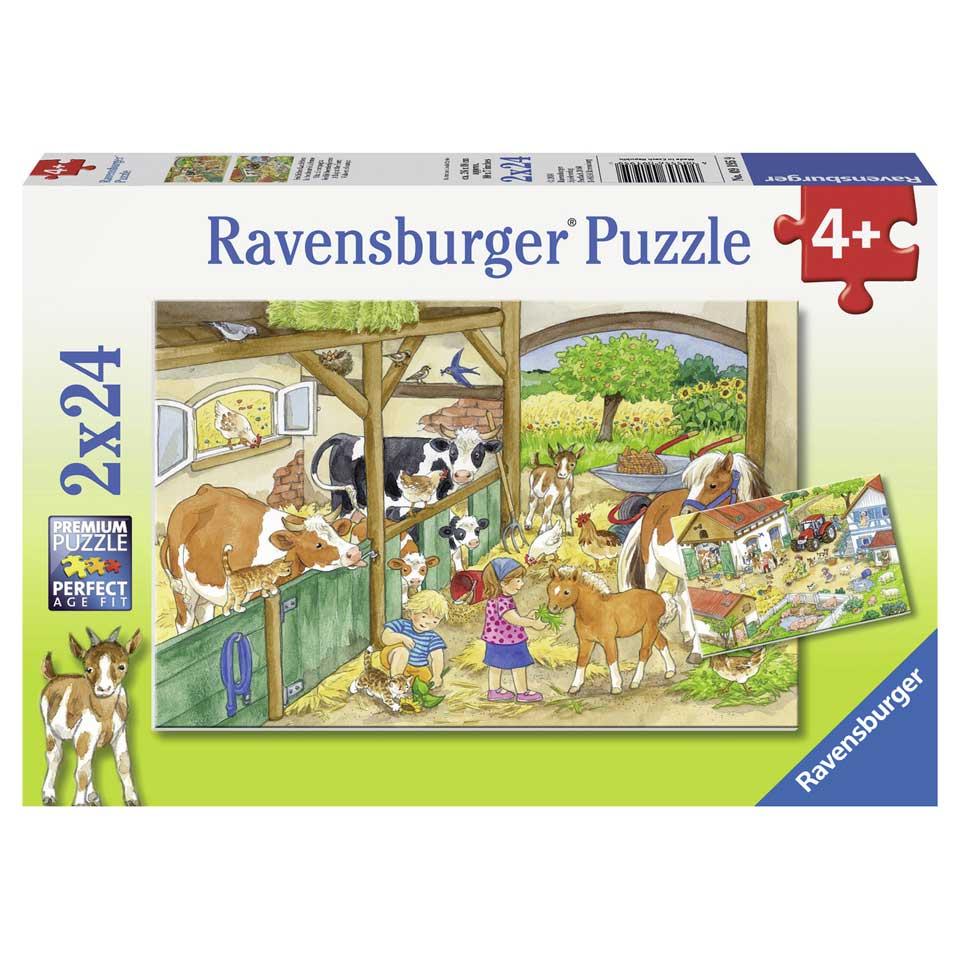 Ravensburger puzzelset Vrolijk boerderijleven - 2 x 24 stukjes