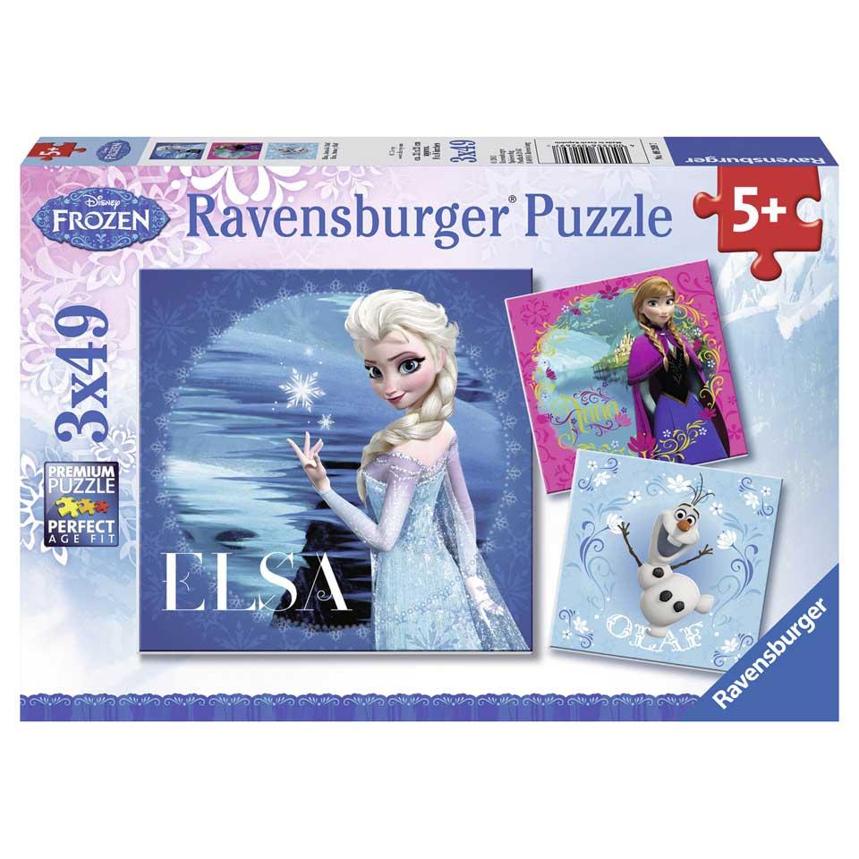 Ravensburger puzzelset Disney Frozen Anna, Olaf en Elsa - 3x 49 stukjes