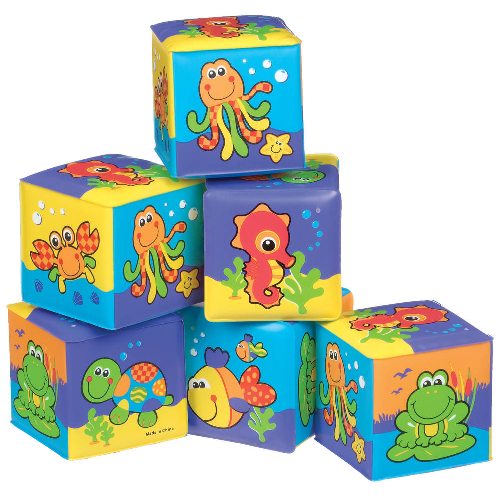 Playgro zachte blokken waterdieren - paars
