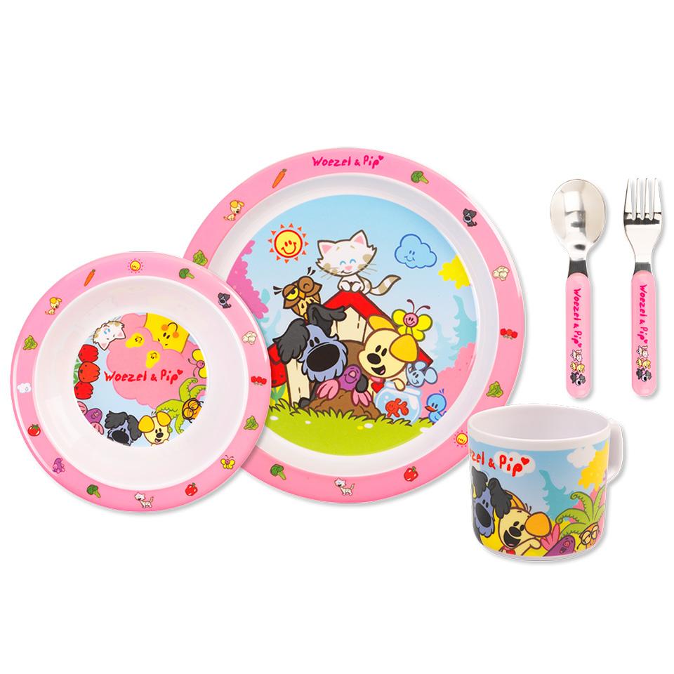 Woezel & Pip kinderservies 5-delig - roze