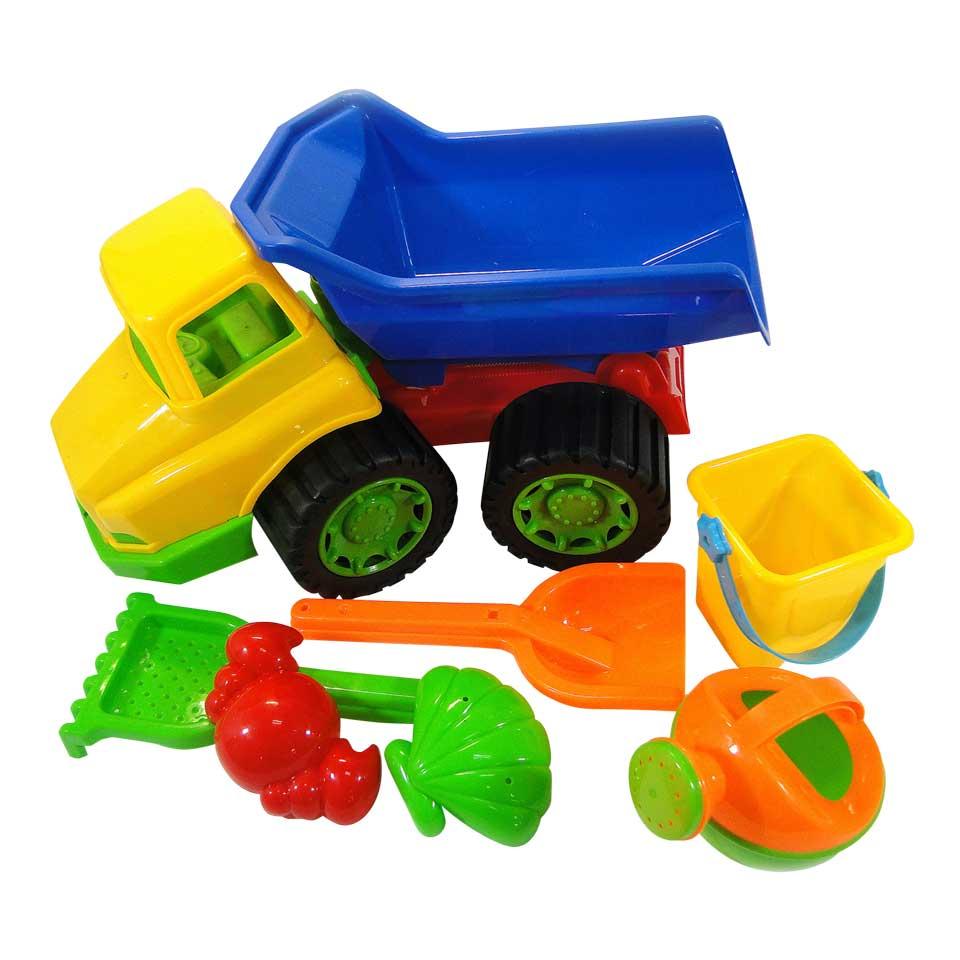 Plastic truck met zandspeelgoed