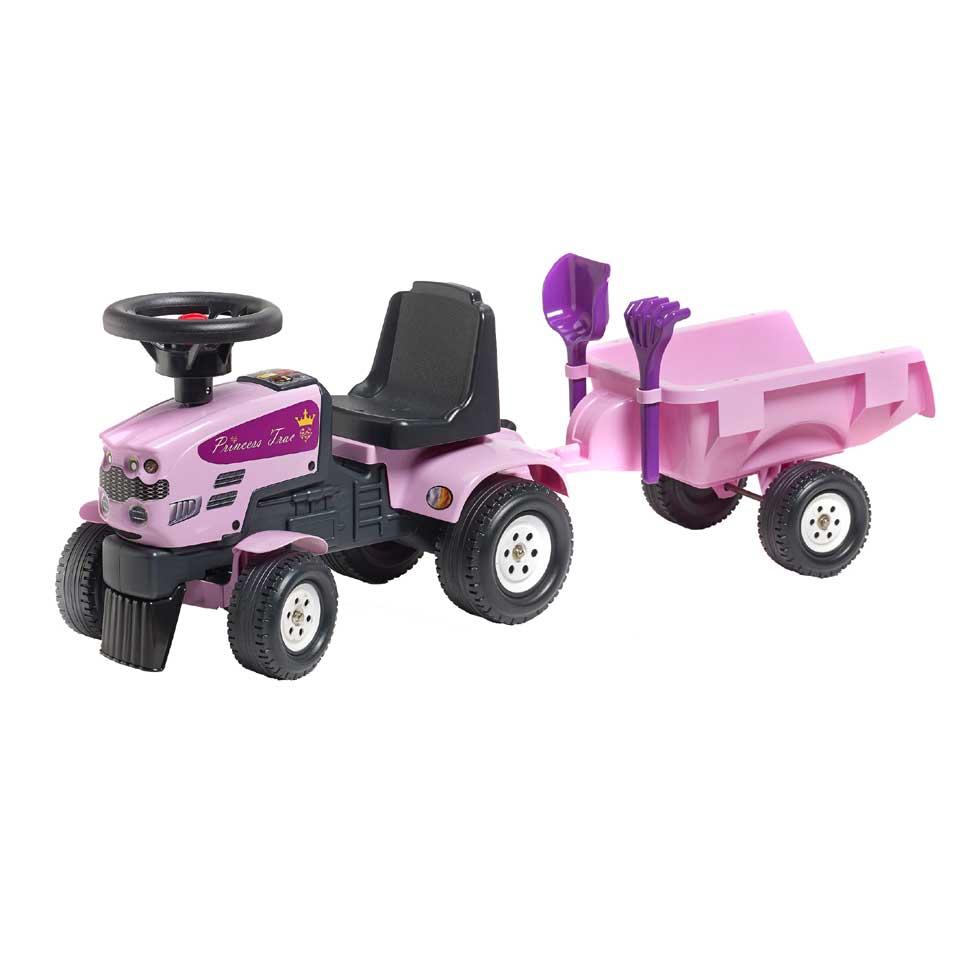Falk Princess Trac looptractor met aanhanger - roze