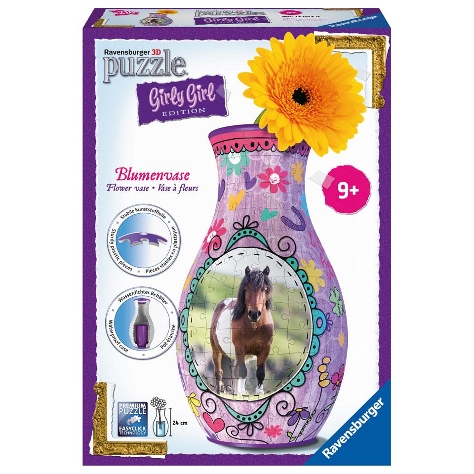Ravensburger Girly Girl 3D-puzzel bloemenvaas paarden - 216 stukjes