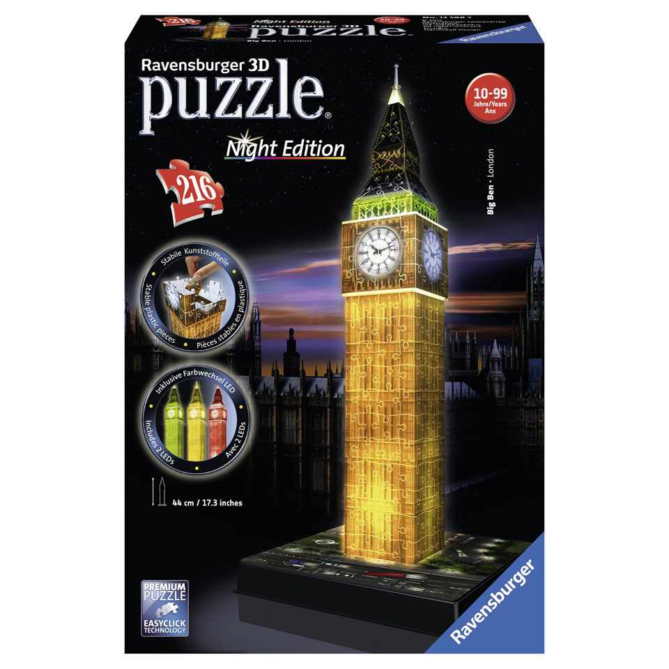 Ravensburger 3D-puzzel Big Ben Night Edition - 216 stukjes