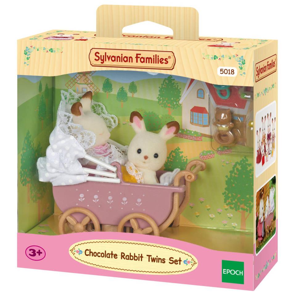 Sylvanian Families tweeling Chocoladekonijn met kinderwagen 5018