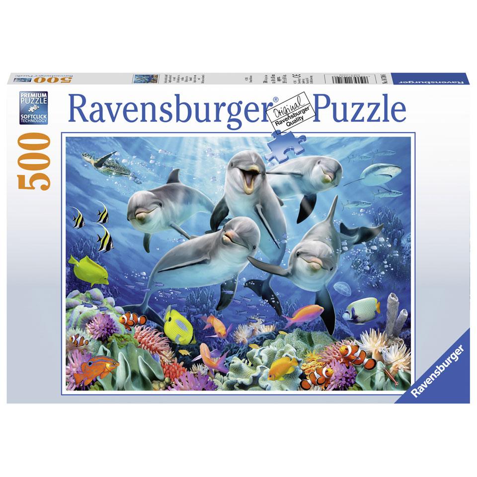 Ravensburger puzzel Dolfijnen in het koraalrif - 500 stukjes