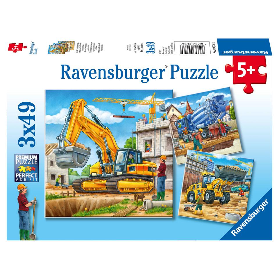 Ravensburger puzzelset Grote bouwvoertuigen - 3 x 49 stukjes