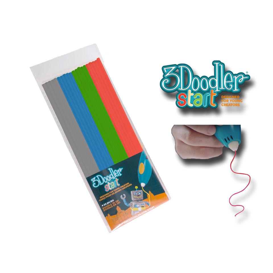 3Doodler start navulling - grijs/blauw/groen/rood