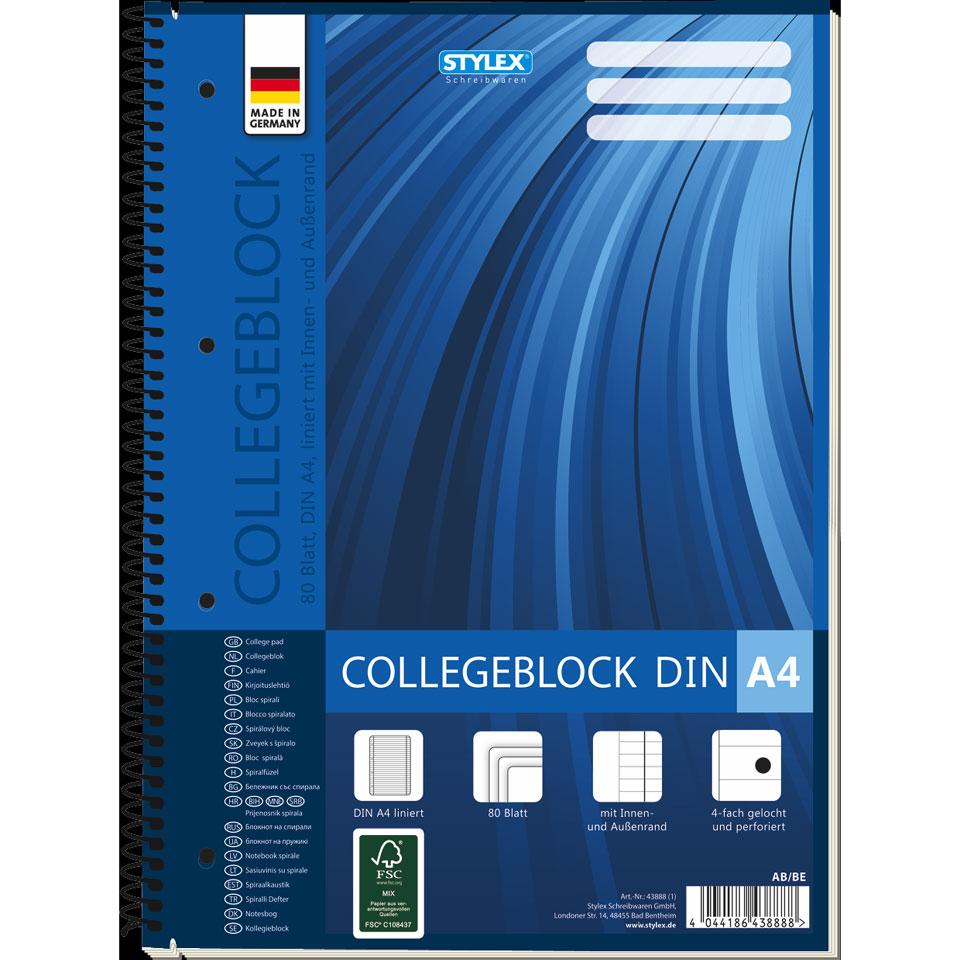 Collegeblok A4 gelinieerd - 80 bladzijde