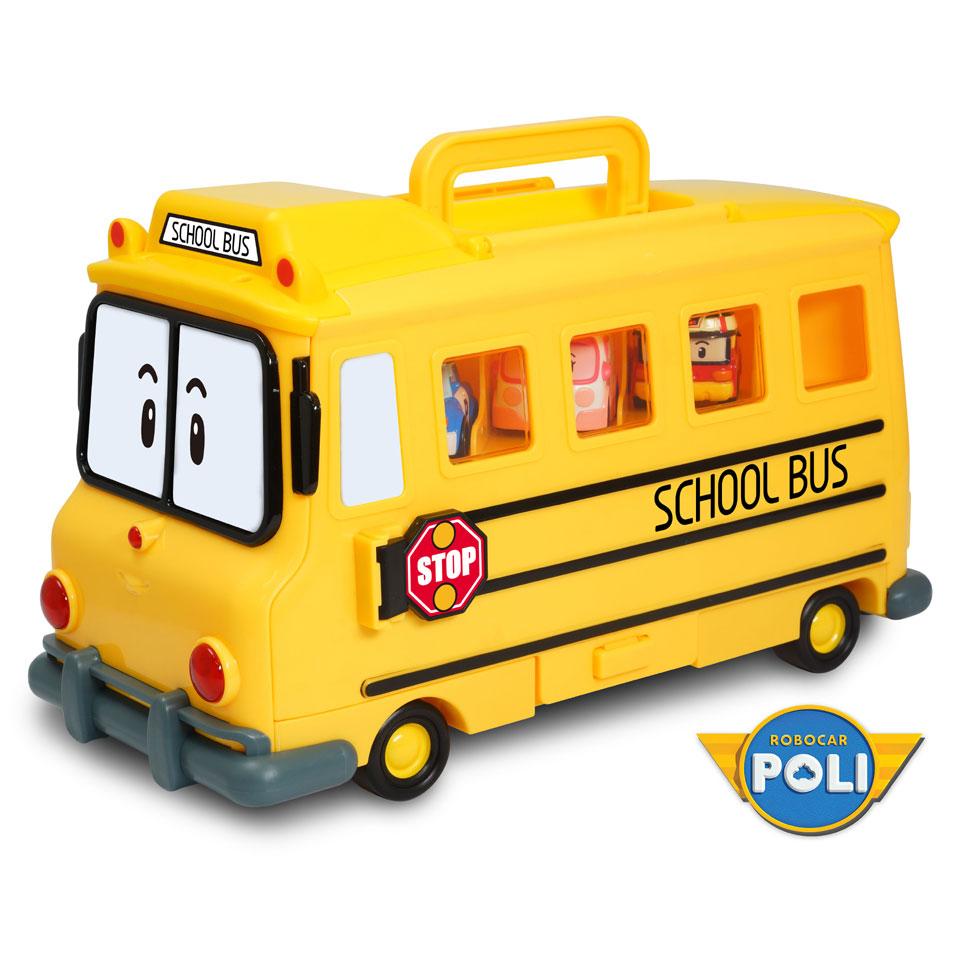 Robocar Poli schoolbus met opslagruimte 14 die-castfiguren