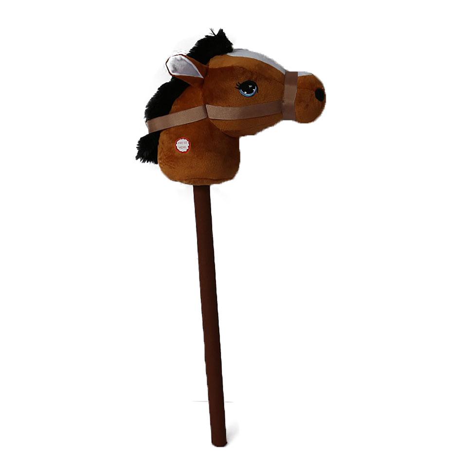 Stokpaard met geluid - 68 cm - bruin