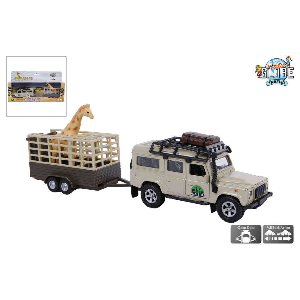 Kids Globe Traffic Land Rover Defender met giraftrailer