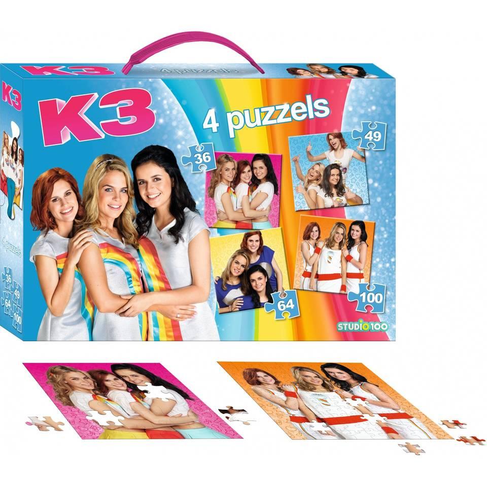 K3 4-in-1 puzzelkoffer - 36 + 49 + 64 + 100 stukjes