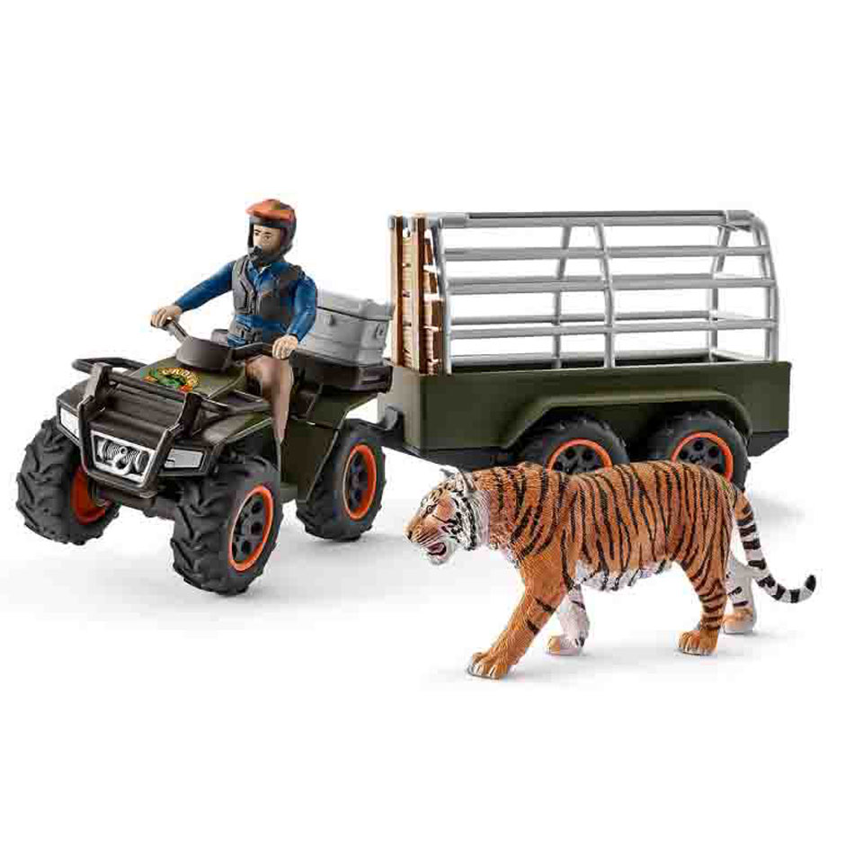Schleich figuur quad met aanhangwagen en ranger 42351