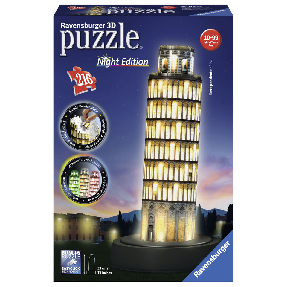 Ravensburger 3D-puzzel Toren van Pisa bij nacht - 216 stukjes