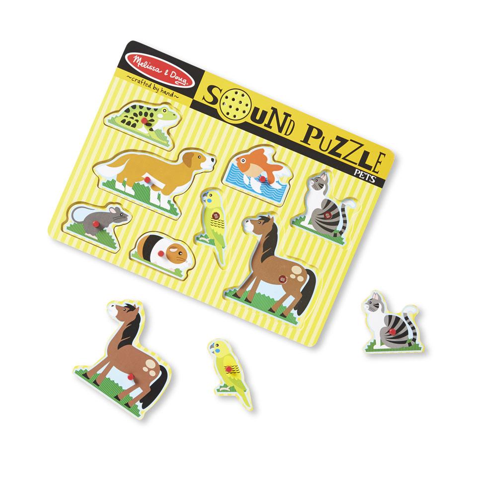 Melissa & Doug houten puzzel met geluid huisdieren